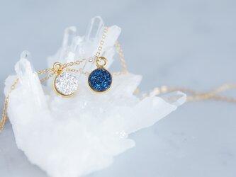【14KGF】Necklace,Gemstone,Tiny Druzy[Silver/Royal Blue]の画像