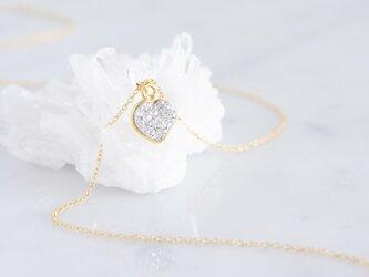 【14KGF】Necklace,Gemstone Silver Heart Druzyの画像