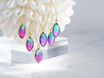 【14KGF】 Necklace,Aura Quartz,[Purple&Green/Rose Pink&Green]の画像