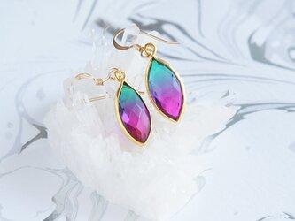 【14KGF】 Earrings,Aura Quartz,-Rose Pink&Green-/Purple&Green-の画像
