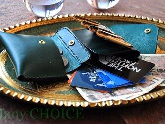 イタリアンレザー・帝王ブッテーロ・2つ折りコインキャッチャー財布(改)(グリーン)の画像