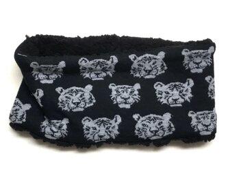【即納可能】キッズサイズ☆とら虎トラ柄(黒色)+ふわふわシープボアのネックウォーマーの画像