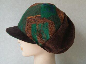 魅せる帽子☆ふんわり♪ウールニットとスエードのキャスケット~ブラウンの画像