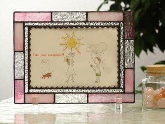 【受注制作】フォトフレーム・シンプル(ピンク&クリアー)の画像