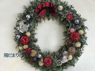 赤いリボンのクリスマスリース☆赤いリンゴ ♯クリスマス ♯クリスマスギフト ♯クリスマスリースの画像