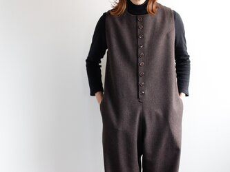flannel wool overall/brownの画像