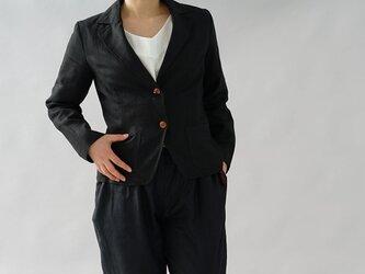 【wafu】中厚 リネン ジャケット 裏地付き ノッチド ラぺル テーラードジャケット / ブラック b18-5の画像