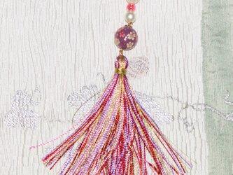 桜柄【紫の花丸玉の帯飾り】★きらきら金糸房飾り★コットンパールの画像