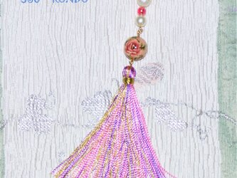薔薇柄【花丸玉の帯飾り】★きらきら金糸房飾り★コットンパールの画像