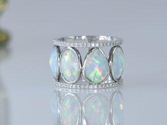 ローズカット オパール・2連ハーフエタ二ティー ダイヤモンドリングの画像