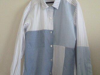 パッチワークシャツ(ブルー)の画像