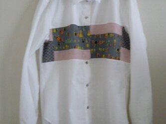 パッチワークシャツ(グレー ピンク)の画像