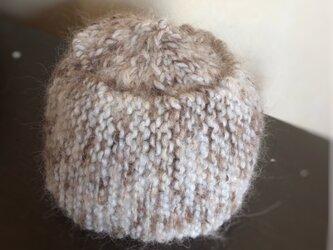 手編み☆モヘアのベールがかったニット帽[ナチュラル]の画像