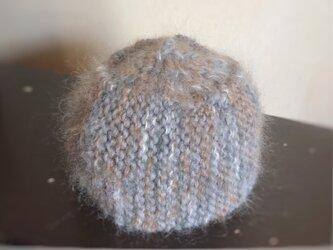 モヘアのベールがかったニット帽☆手編み【グレー]の画像