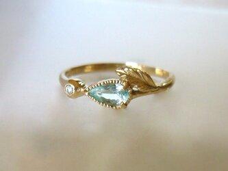 パライバトルマリンとダイヤのK14の指輪の画像