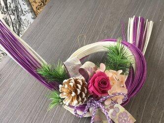 西陣織リボンと輪結びのしめ飾り【プリザ+造花+ドライ】お正月の画像