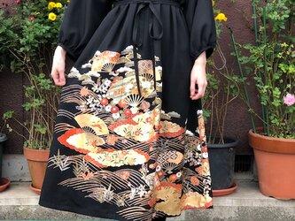 未仕立て刺繍扇柄絵羽留袖ワンピースM~Lの画像