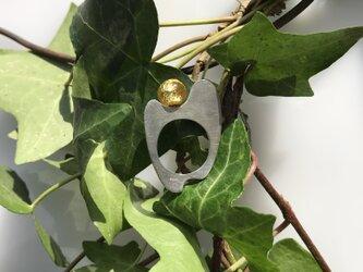 銀板透かしのリング/950silver・金箔ガラス#16の画像