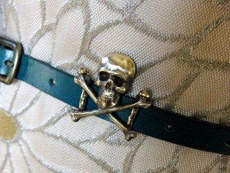 真鍮ブラス製 コーデの外しにスカル型帯留め 着物や浴衣の帯締めの飾り・ブレスやチョーカー飾りにの画像