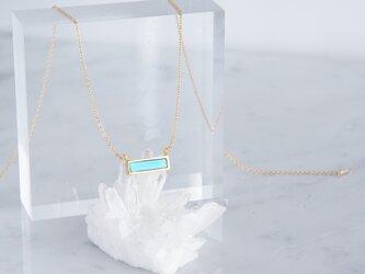 【14KGF】Necklace,Gemstone,Blue Turquoise Tiny Rectangle Barの画像