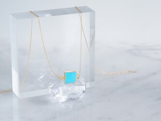 【14KGF】Necklace,Gemstone,Square Blue Turquoiseの画像