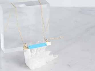 【14KGF】Necklace,Gemstone,Artistic Blue Turquoise Rectangle-の画像
