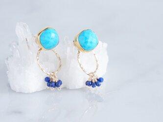 2way Stud Earrings,Gemstone Blue Turquoise,Lapis Lazuliの画像