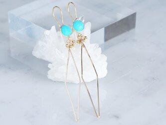 Long Dangle Earrings,Gemstone Turquoise -14KGF Diamond Shape-の画像