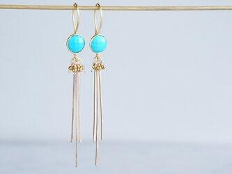 Long Dangle Earrings,Gemstone Turquoise -14KGF Fringe -の画像