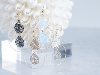 【14KGF】Double Hoop Earrings,French Filigreeの画像