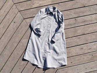 限定2枚 『黒板』 shirt onepiece  播州織 ストライプシャツワンピースの画像