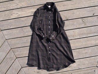 『落葉』 shirt onepiece  播州織 ウール混 チェックシャツワンピースの画像