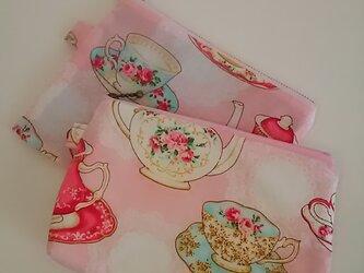 【お買い得‼】tea time ポーチ&フラットポーチセットの画像
