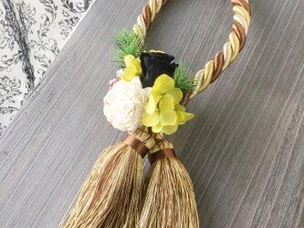 ゴージャスなタッセルのしめ飾り【プリザ+造花+ドライ】お正月の画像