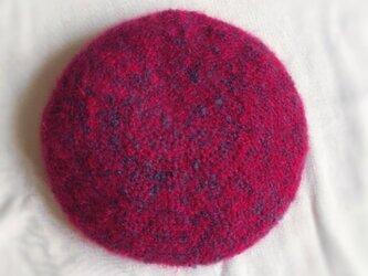 【チェリーピンク】モヘアのドーナツみたいなベレー帽の画像