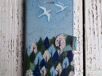 在庫品SALE! 2800円/iPhone7/手帳型スマホケース「春が来た」の画像