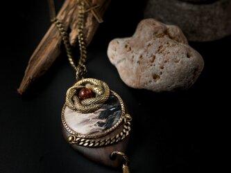 【聖蛇の遣い】ペトリファイドウッド×琥珀×ジリコテ/N439-4の画像