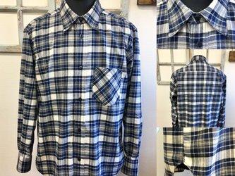 男女兼用❤️メンズチェック柄のフランネル素材の長袖シャツ ブルー(サイズフリー L〜 L L)の画像