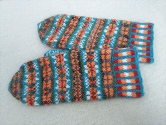 手紡ぎ毛糸のミトン【グリーンとオレンジ】の画像