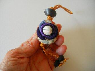 古布ちりめんくるみバッグチャーム(大・紫 からし色のひも)の画像