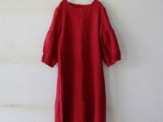 ギャザー裾ワンピースlithuanian linen100%・darkredの画像