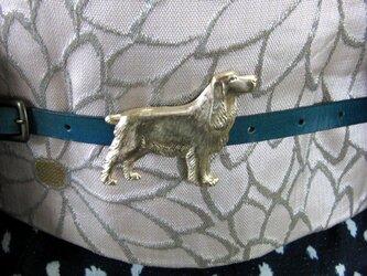真鍮ブラス製 ゴールデン風犬型大き目帯留め 着物や浴衣の帯締めの飾り・ブレスやチョーカー飾りにの画像