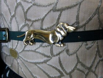 真鍮ブラス製 ダックス犬風帯留め 着物や浴衣の帯締めの飾り・ブレスやチョーカー飾りにの画像