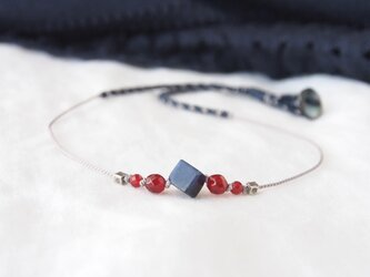 Navy&Red Short Necklace(ソーダライト×レッドアゲート)の画像