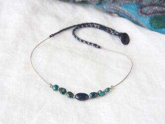 Navy&Green Short Necklace(ラピスラズリ×クリソコラ)の画像