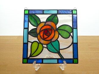 ステンドグラス ミニパネル オレンジローズ 15cmの画像
