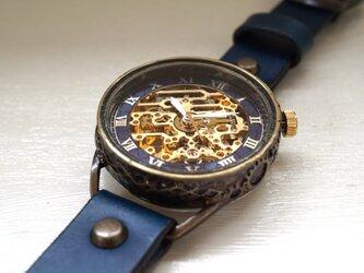 メカニックゴールド AT ブルー 真鍮 手作り腕時計の画像