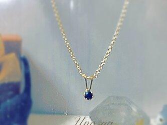 14kgf /宝石屋さんのサファイア一粒ネックレスの画像