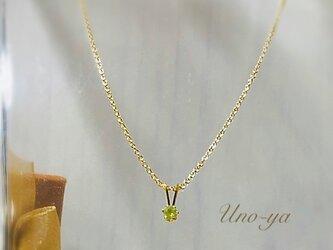 14kgf /宝石屋さんのペリドット一粒ネックレスの画像