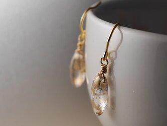 チェコガラスのピアス クリスタルゴールドの画像